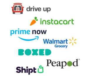 Target drive up, Instacart, PrimeNow, and other retail logos